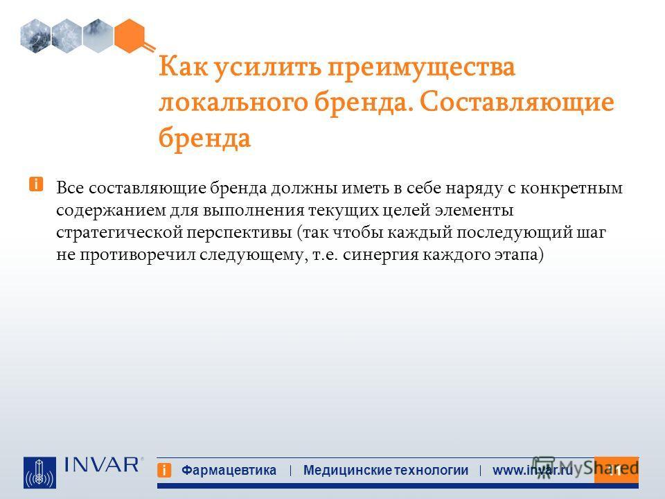 11 Фармацевтика Медицинские технологииwww.invar.ru Как усилить преимущества локального бренда. Составляющие бренда Все составляющие бренда должны иметь в себе наряду с конкретным содержанием для выполнения текущих целей элементы стратегической перспе