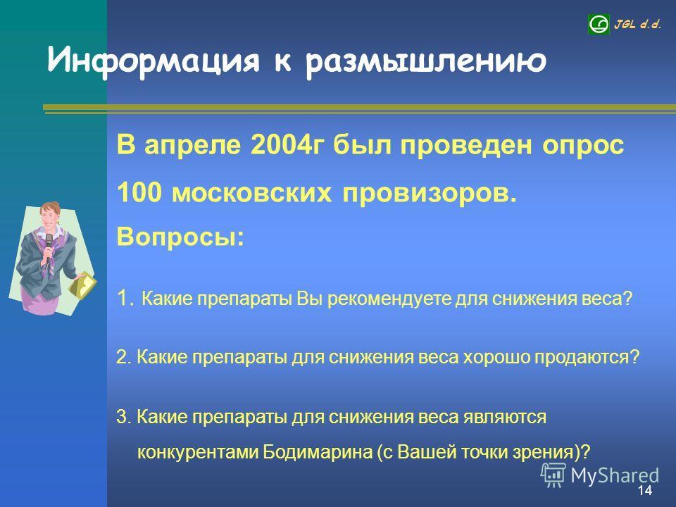 JGL d.d. 14 Информация к размышлению В апреле 2004г был проведен опрос 100 московских провизоров. Вопросы: 1. Какие препараты Вы рекомендуете для снижения веса? 2. Какие препараты для снижения веса хорошо продаются? 3. Какие препараты для снижения ве