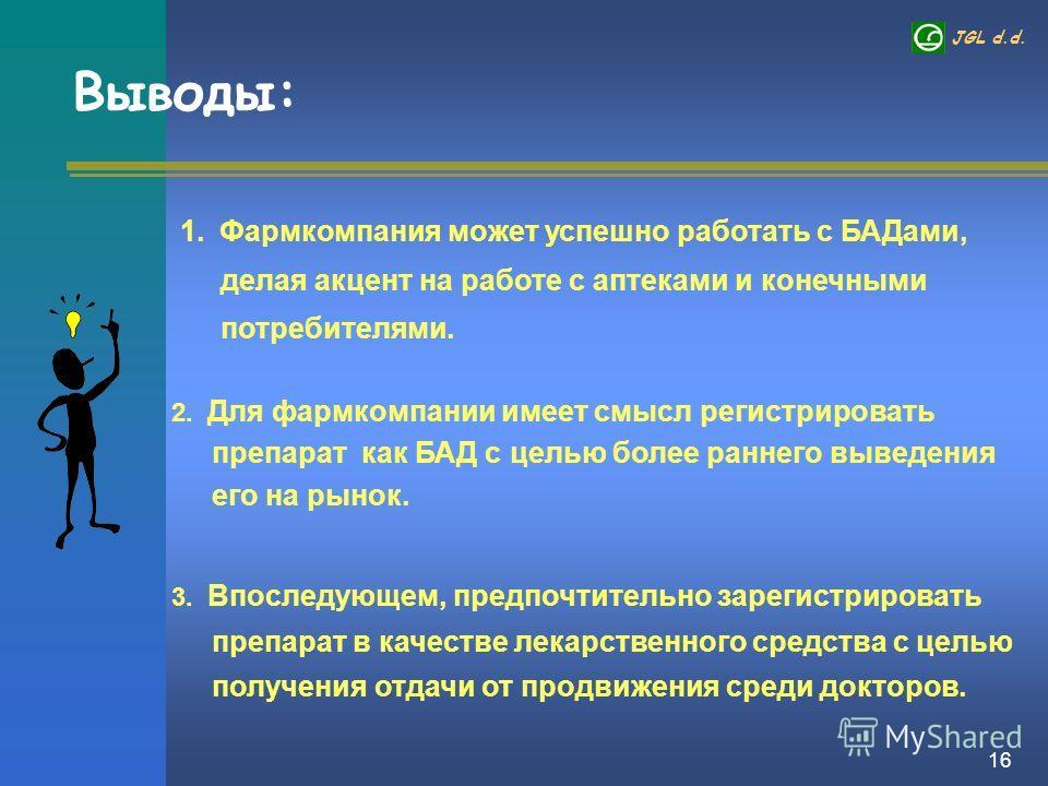 JGL d.d. 16 Выводы: 1.Фармкомпания может успешно работать с БАДами, делая акцент на работе с аптеками и конечными потребителями. 2. Для фармкомпании имеет смысл регистрировать препарат как БАД с целью более раннего выведения его на рынок. 3. Впоследу
