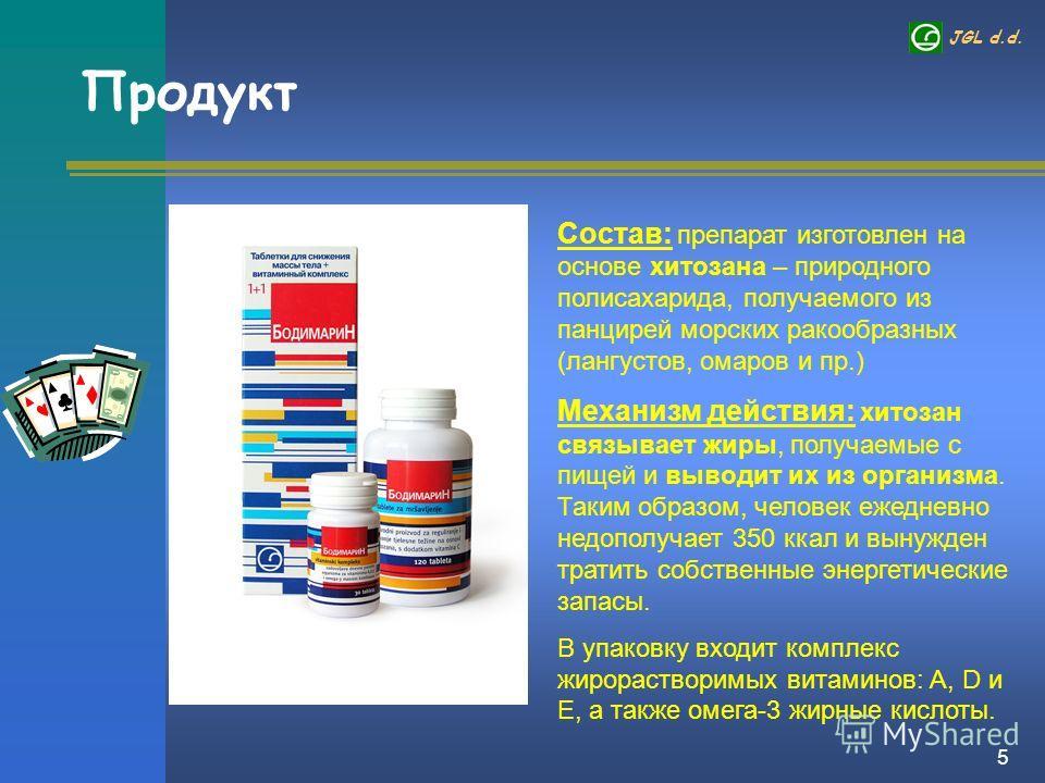 JGL d.d. 5 Продукт Состав: препарат изготовлен на основе хитозана – природного полисахарида, получаемого из панцирей морских ракообразных (лангустов, омаров и пр.) Механизм действия: хитозан связывает жиры, получаемые с пищей и выводит их из организм