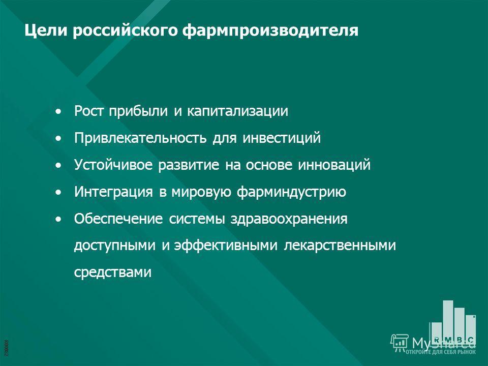 R00082 Рост прибыли и капитализации Привлекательность для инвестиций Устойчивое развитие на основе инноваций Интеграция в мировую фарминдустрию Обеспечение системы здравоохранения доступными и эффективными лекарственными средствами Цели российского ф