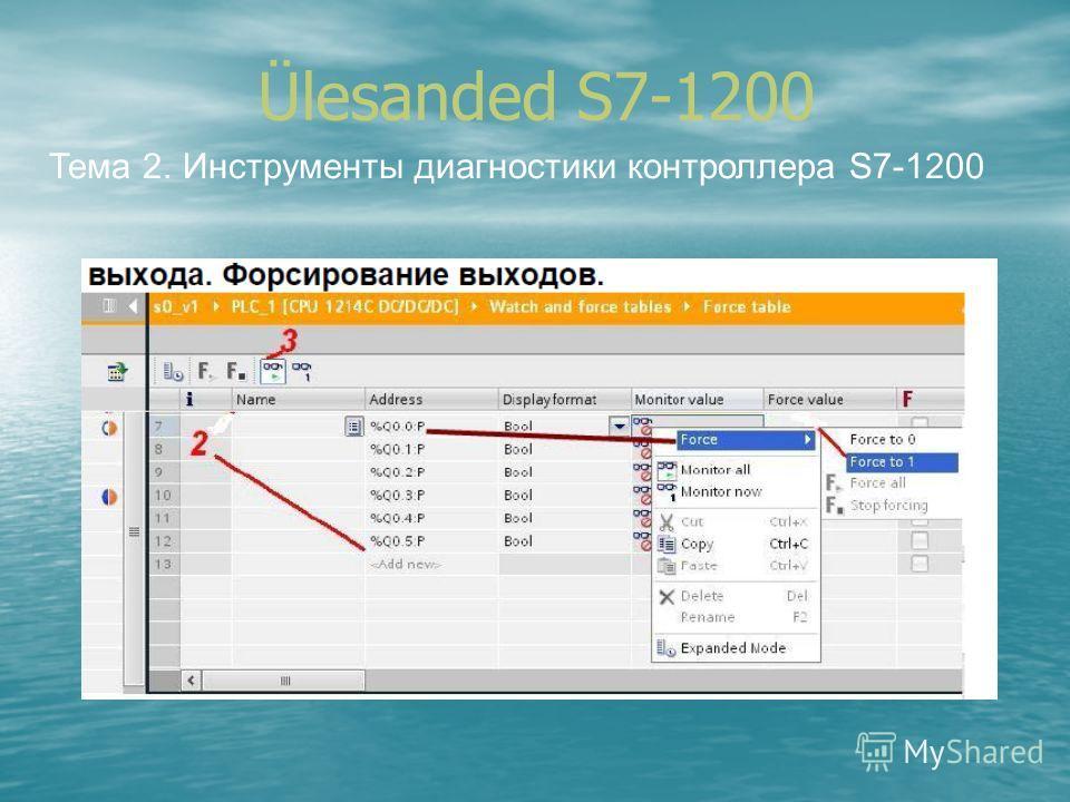 Ülesanded S7-1200 Тема 2. Инструменты диагностики контроллера S7-1200