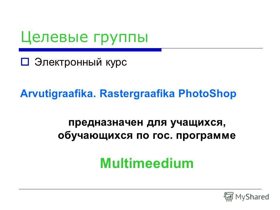 Целевые группы Электронный курс Arvutigraafika. Rastergraafika PhotoShop предназначен для учащихся, обучающихся по гос. программе Multimeedium