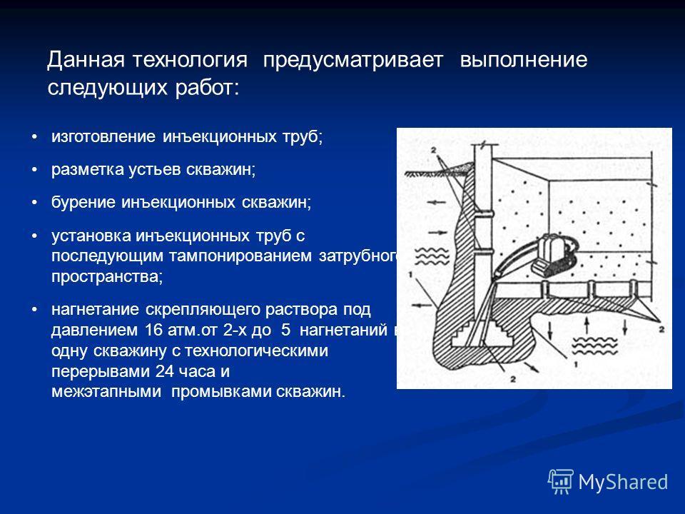 Данная технология предусматривает выполнение следующих работ: изготовление инъекционных труб; разметка устьев скважин; бурение инъекционных скважин; установка инъекционных труб с последующим тампонированием затрубного пространства; нагнетание скрепля