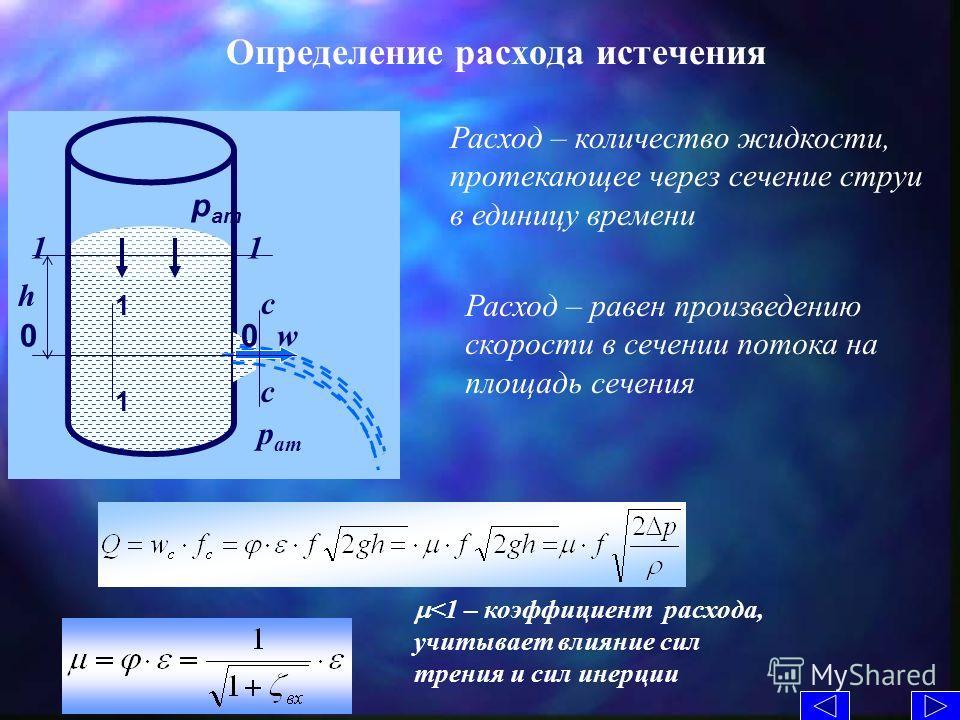 Определение расхода истечения p ат w c c 1111 0 0 1 1 h Расход – количество жидкости, протекающее через сечение струи в единицу времени р ат Расход – равен произведению скорости в сечении потока на площадь сечения