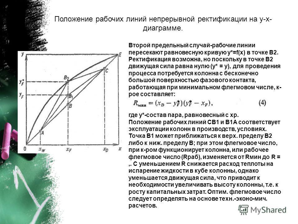 Положение рабочих линий непрерывной ректификации на у-х- диаграмме. Второй предельный случай-рабочие линии пересекают равновесную кривую у*=f(х) в точке В2. Ректификация возможна, но поскольку в точке В2 движущая сила равна нулю (у* = у), для проведе