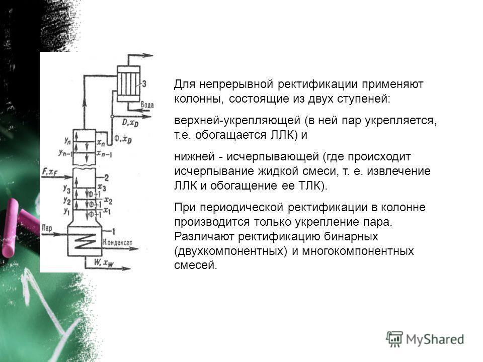 Для непрерывной ректификации применяют колонны, состоящие из двух ступеней: верхней-укрепляющей (в ней пар укрепляется, т.е. обогащается ЛЛК) и нижней - исчерпывающей (где происходит исчерпывание жидкой смеси, т. е. извлечение ЛЛК и обогащение ее ТЛК