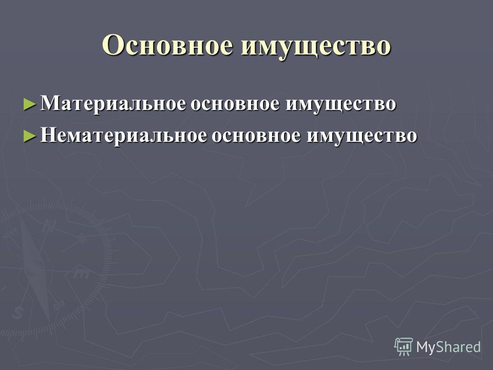 Oсновное имущество Материальное основное имущество Материальное основное имущество Нематериальное основное имущество Нематериальное основное имущество