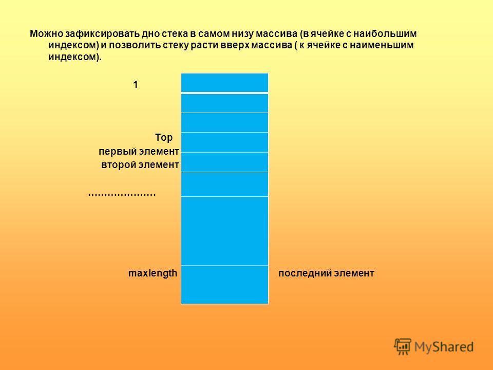Можно зафиксировать дно стека в самом низу массива (в ячейке с наибольшим индексом) и позволить стеку расти вверх массива ( к ячейке с наименьшим индексом). 1 Top первый элемент второй элемент ………………… maxlength последний элемент