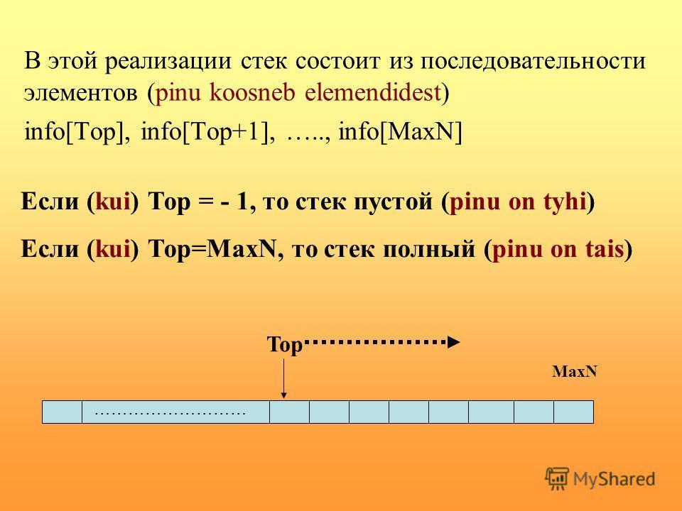 В этой реализации стек состоит из последовательности элементов (pinu koosneb elemendidest) info[Top], info[Top+1], ….., info[MaxN] Если (kui) Тор = - 1, то стек пустой (pinu on tyhi) Если (kui) Тор=MaxN, то стек полный (pinu on tais) ……………………… Top Ma