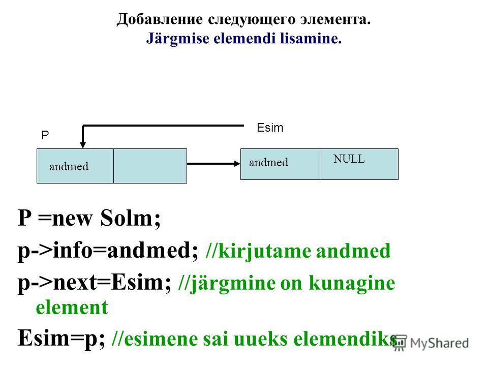 Добавление следующего элемента. Järgmise elemendi lisamine. P =new Solm; p->info=andmed; //kirjutame andmed p->next=Esim; //järgmine on kunagine element Esim=p; //esimene sai uueks elemendiks NULL andmed Р Esim