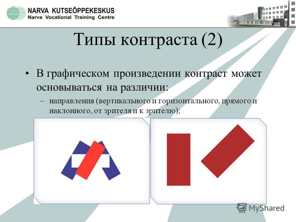 Типы контраста (2) В графическом произведении контраст может основываться на различии: –направления (вертикального и горизонтального, прямого и наклонного, от зрителя и к зрителю);