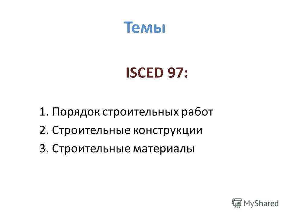 Темы ISCED 97: 1. Порядок строительных работ 2. Строительные конструкции 3. Строительные материалы