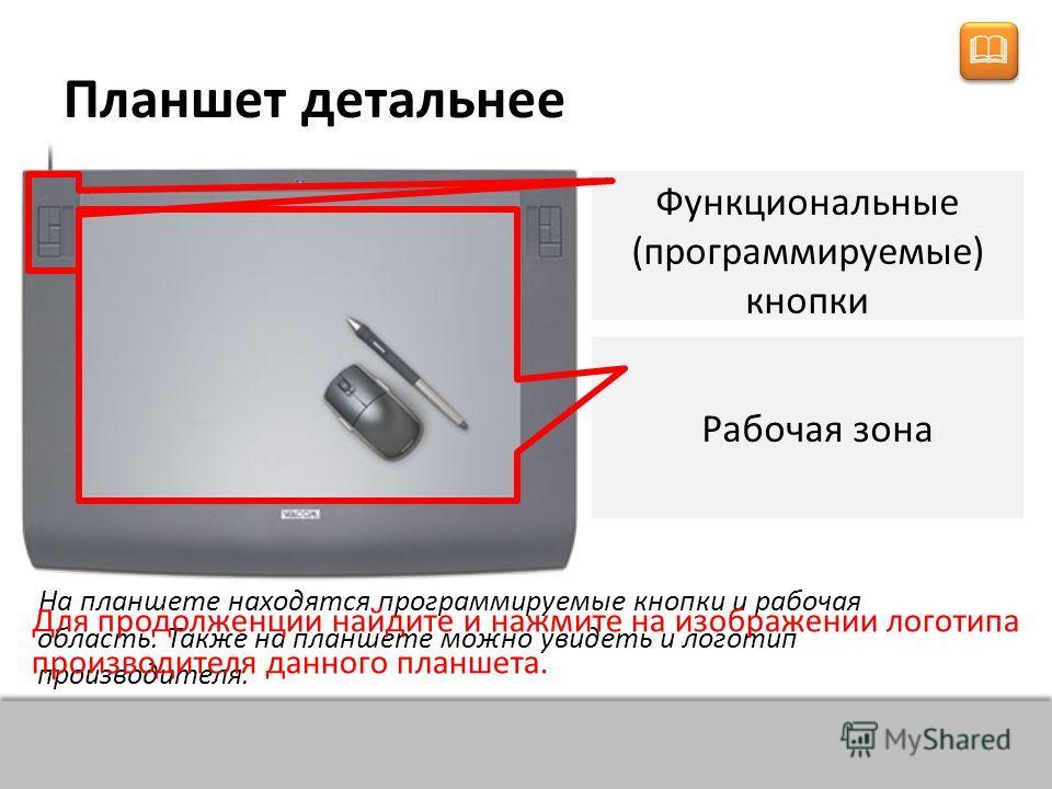 НАЗАД ВПЕРЁД Из чего состоит комплектация планшета? Состоит из пера и плоского планшета, чувствительного к нажатию или близости пера. Также может прилагаться специальная мышь. Плоский планшет с функциональными кнопками Чувствительное перо или стилус