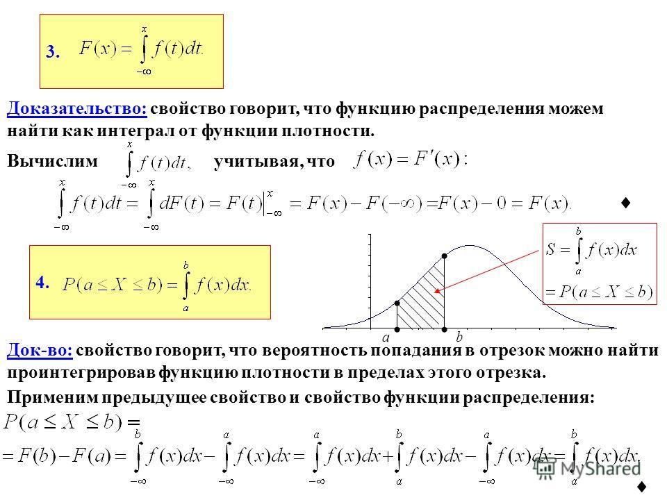 4. 3. Доказательство: свойство говорит, что функцию распределения можем найти как интеграл от функции плотности. Вычислимучитывая, что Док-во: свойство говорит, что вероятность попадания в отрезок можно найти проинтегрировав функцию плотности в преде