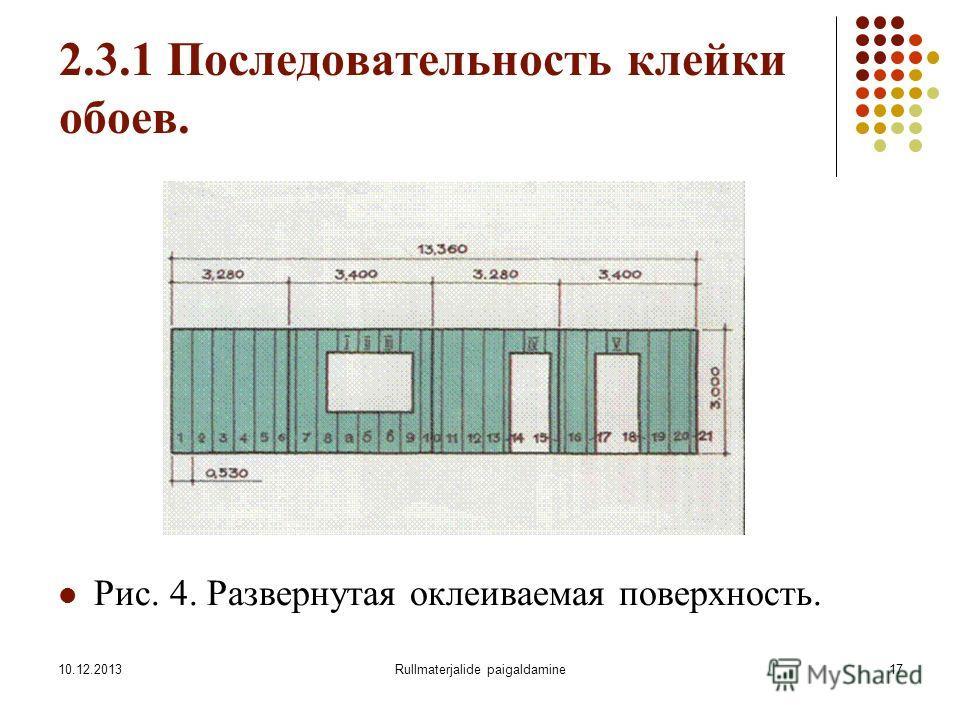 10.12.2013Rullmaterjalide paigaldamine17 2.3.1 Последовательность клейки обоев. Рис. 4. Развернутая оклеиваемая поверхность.