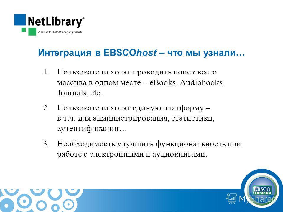 Интеграция в EBSCOhost – что мы узнали… 1.Пользователи хотят проводить поиск всего массива в одном месте – eBooks, Audiobooks, Journals, etc. 2.Пользователи хотят единую платформу – в т.ч. для администрирования, статистики, аутентификации… 3.Необходи