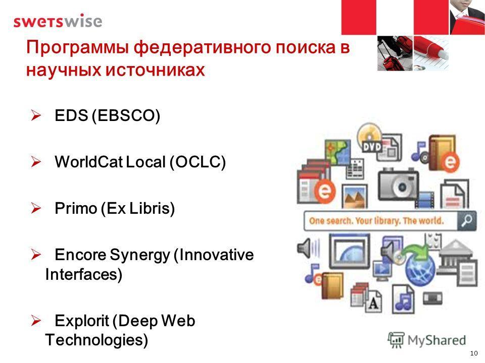 Программы федеративного поиска в научных источниках EDS (EBSCO) WorldCat Local (OCLC) Primo (Ex Libris) Encore Synergy (Innovative Interfaces) Explorit (Deep Web Technologies) 10