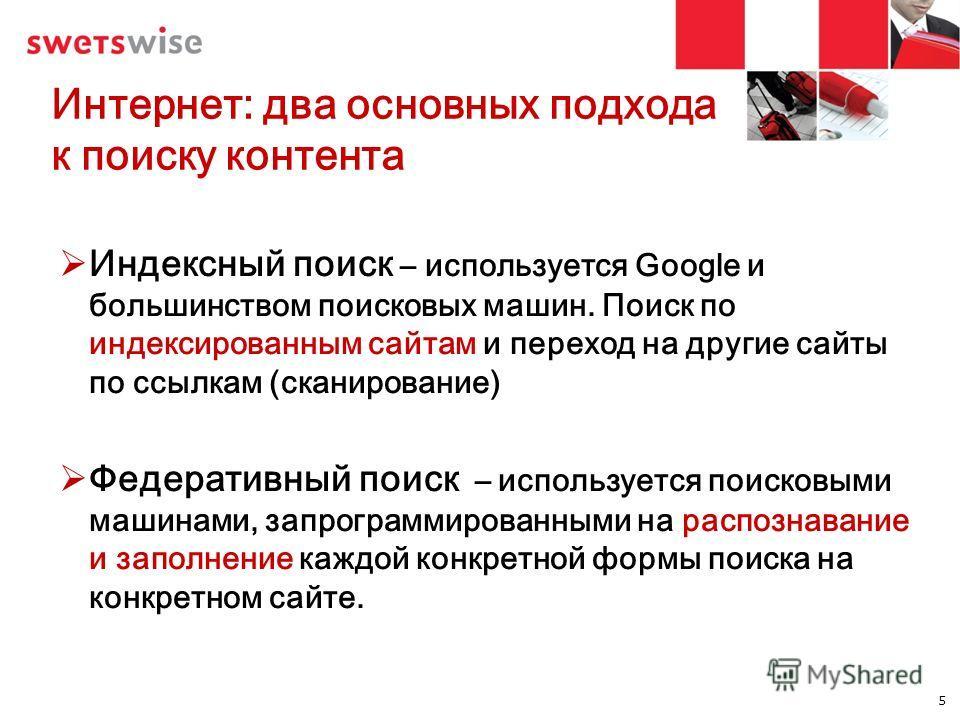 Интернет: два основных подхода к поиску контента Индексный поиск – используется Google и большинством поисковых машин. Поиск по индексированным сайтам и переход на другие сайты по ссылкам (сканирование) Федеративный поиск – используется поисковыми ма