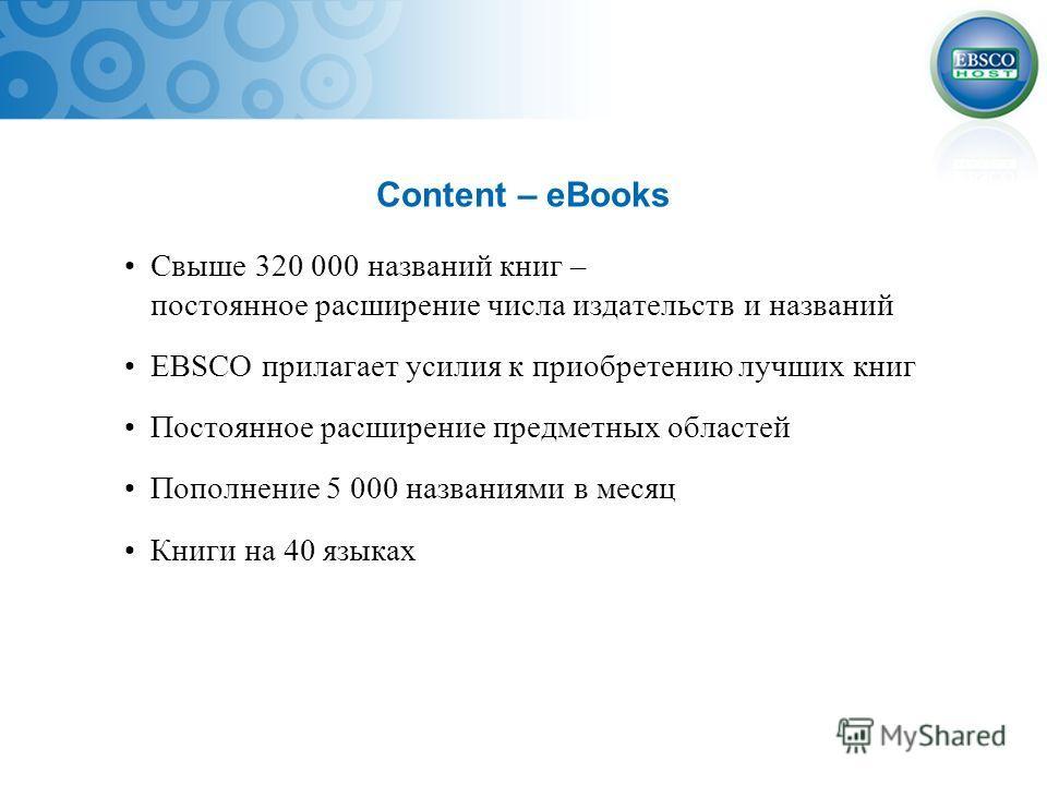 Content – eBooks Свыше 320 000 названий книг – постоянное расширение числа издательств и названий EBSCO прилагает усилия к приобретению лучших книг Постоянное расширение предметных областей Пополнение 5 000 названиями в месяц Книги на 40 языках