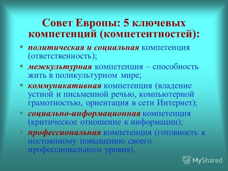Совет Европы: 5 ключевых компетенций (компетентностей): политическая и социальная компетенция (ответственность); межкультурная компетенция – способность жить в поликультурном мире; коммуникативная компетенция (владение устной и письменной речью, комп