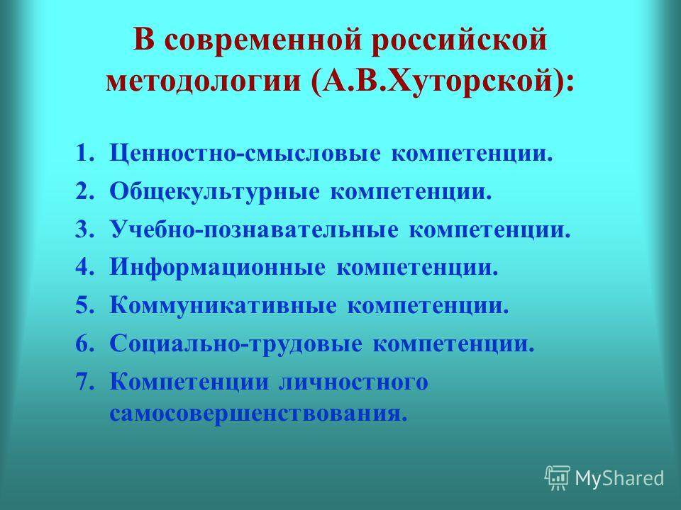 В современной российской методологии (А.В.Хуторской): 1.Ценностно-смысловые компетенции. 2.Общекультурные компетенции. 3.Учебно-познавательные компетенции. 4.Информационные компетенции. 5.Коммуникативные компетенции. 6.Социально-трудовые компетенции.