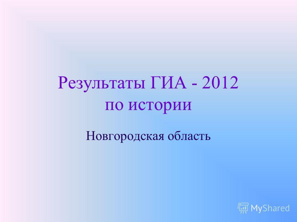Результаты ГИА - 2012 по истории Новгородская область