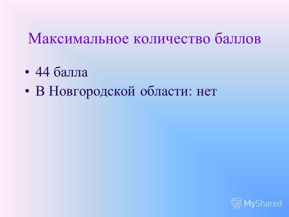 Максимальное количество баллов 44 балла В Новгородской области: нет