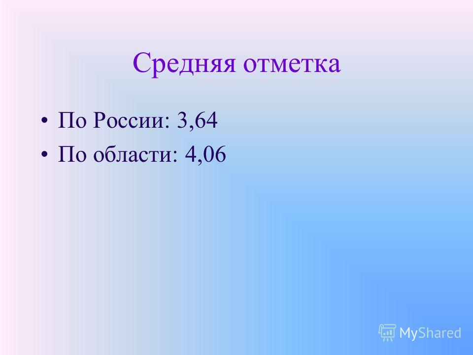 Средняя отметка По России: 3,64 По области: 4,06