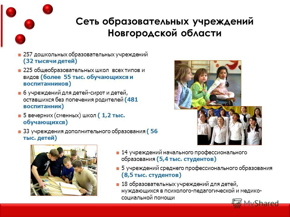 Сеть образовательных учреждений Новгородской области 257 дошкольных образовательных учреждений (32 тысячи детей) 225 общеобразовательных школ всех типов и видов (более 55 тыс. обучающихся и воспитанников) 6 учреждений для детей-сирот и детей, оставши