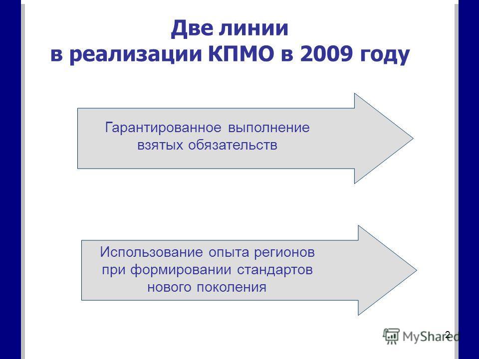 2 Две линии в реализации КПМО в 2009 году Гарантированное выполнение взятых обязательств Использование опыта регионов при формировании стандартов нового поколения
