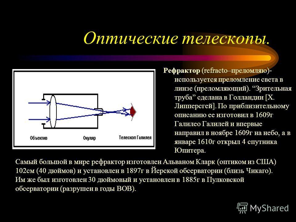 Оптические телескопы. Рефрактор (refracto–преломляю)- используется преломление света в линзе (преломляющий). Зрительная труба сделана в Голландии [Х. Липперсгей]. По приблизительному описанию ее изготовил в 1609г Галилео Галилей и впервые направил в