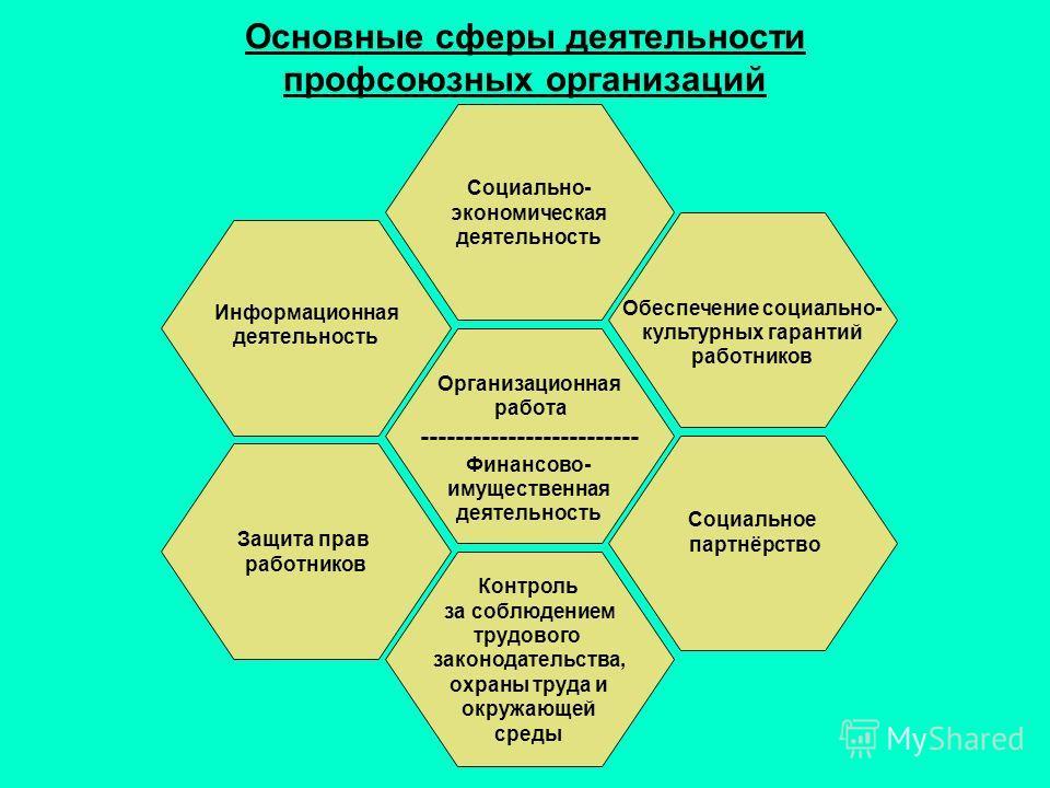 Основные сферы деятельности профсоюзных организаций Организационная работа ------------------------- Финансово- имущественная деятельность Информационная деятельность Защита прав работников Социально- экономическая деятельность Контроль за соблюдение