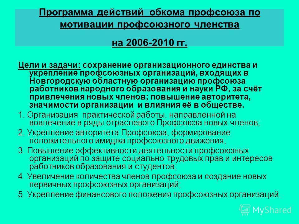 Программа действий обкома профсоюза по мотивации профсоюзного членства на 2006-2010 гг. Цели и задачи: сохранение организационного единства и укрепление профсоюзных организаций, входящих в Новгородскую областную организацию профсоюза работников народ