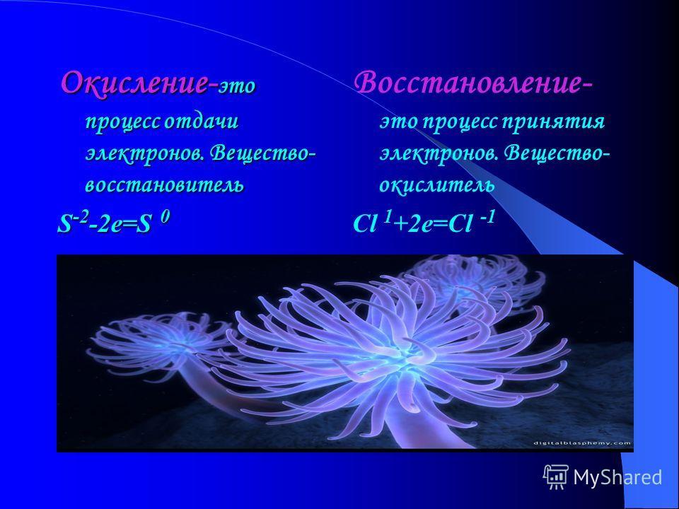 Окислительно-восстановительные реакции ОВР-это химические реакции,происходящие с изменением степени окисления. Окислитель-вещество,частицы которого (молекулы, атомы, ионы) содержат восстанавливающиеся атомы. Восстановитель- вещество,частицы которого