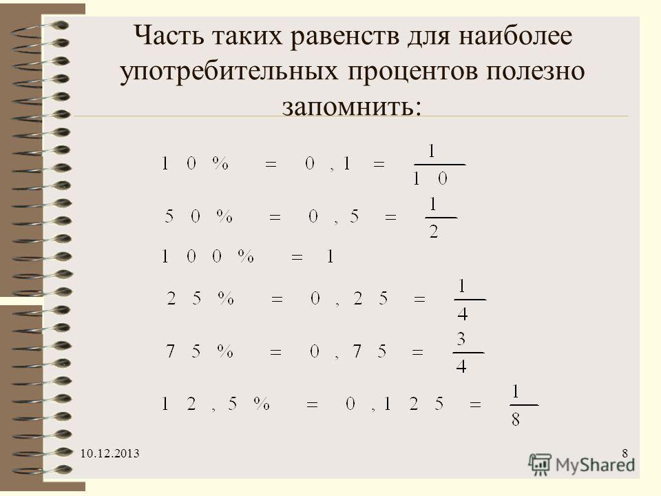 10.12.20138 Часть таких равенств для наиболее употребительных процентов полезно запомнить: