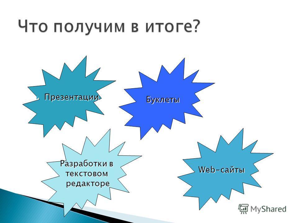 Презентации Презентации Буклеты Web-сайты Разработки в текстовомредакторе