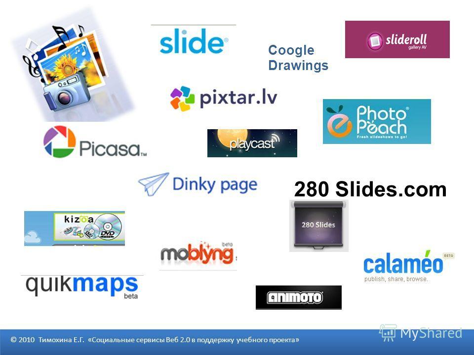 280 Slides.com © 2010 Тимохина Е.Г. «Социальные сервисы Веб 2.0 в поддержку учебного проекта» Coogle Drawings