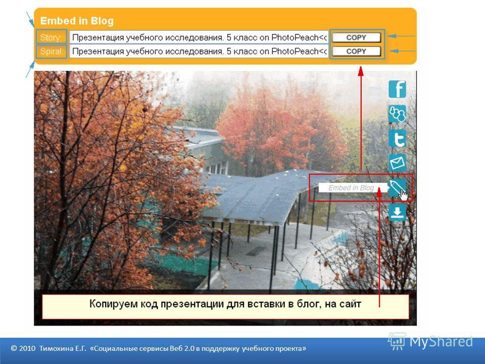 © 2010 Тимохина Е.Г. «Социальные сервисы Веб 2.0 в поддержку учебного проекта»