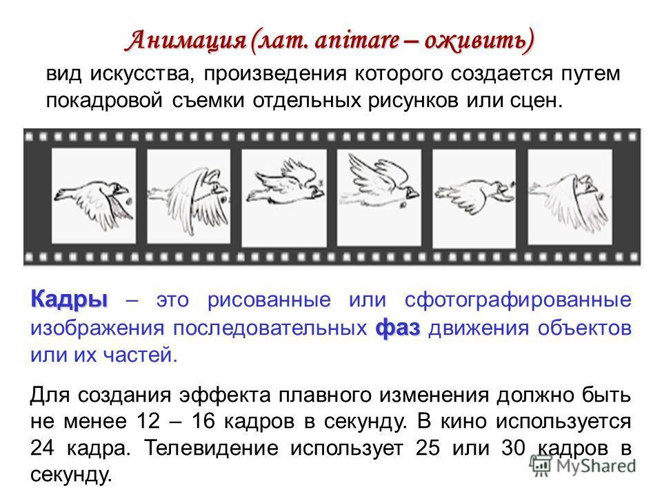 Анимация (лат. animare – оживить) вид искусства, произведения которого создается путем покадровой съемки отдельных рисунков или сцен. Кадры фаз Кадры – это рисованные или сфотографированные изображения последовательных фаз движения объектов или их ча