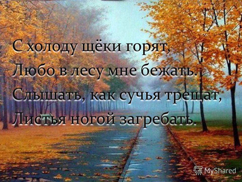 С холоду щёки горят, Любо в лесу мне бежать. Слышать, как сучья трещат, Листья ногой загребать. С холоду щёки горят, Любо в лесу мне бежать. Слышать, как сучья трещат, Листья ногой загребать.