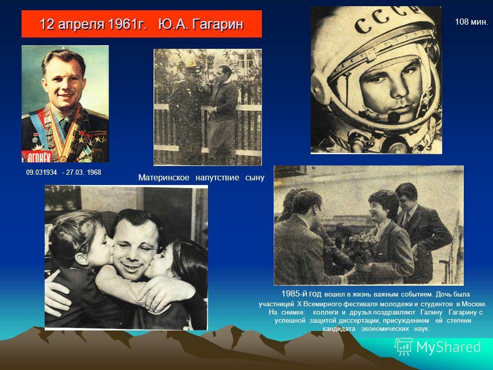 12 апреля 1961г. Ю.А. Гагарин Материнское напутствие сыну 1985-й год вошел в жизнь важным co6ытием. Дочь была участницей X Всемирного фестиваля молодежи и студентов в Москве. На снимке: коллеги и друзья поздравляют Галину Гагарину с успешной защитой
