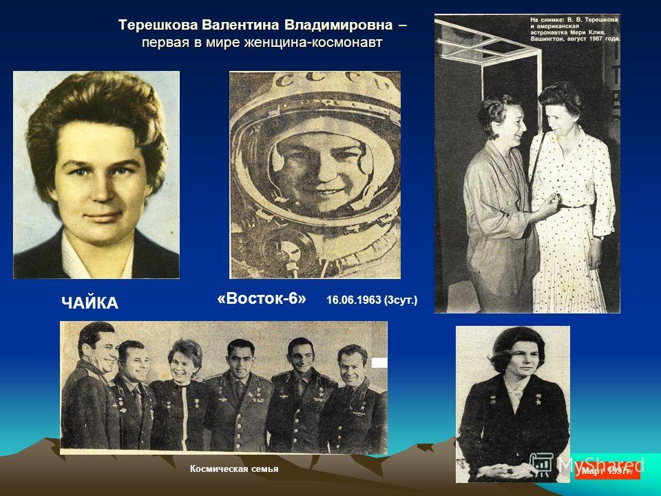Терешкова Валентина Владимировна – первая в мире женщина-космонавт ЧАЙКА «Восток-6» 16.06.1963 (3сут.) Март 1997г. Космическая семья