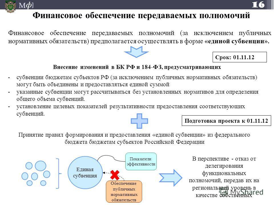 М ] ф Финансовое обеспечение передаваемых полномочий 16 Финансовое обеспечение передаваемых полномочий (за исключением публичных нормативных обязательств) предполагается осуществлять в форме «единой субвенции». Внесение изменений в БК РФ и 184-ФЗ, пр