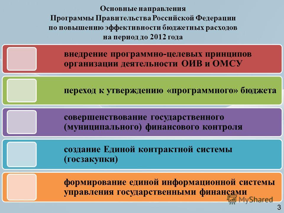 Основные направления Программы Правительства Российской Федерации по повышению эффективности бюджетных расходов на период до 2012 года внедрение программно-целевых принципов организации деятельности ОИВ и ОМСУ переход к утверждению «программного» бюд