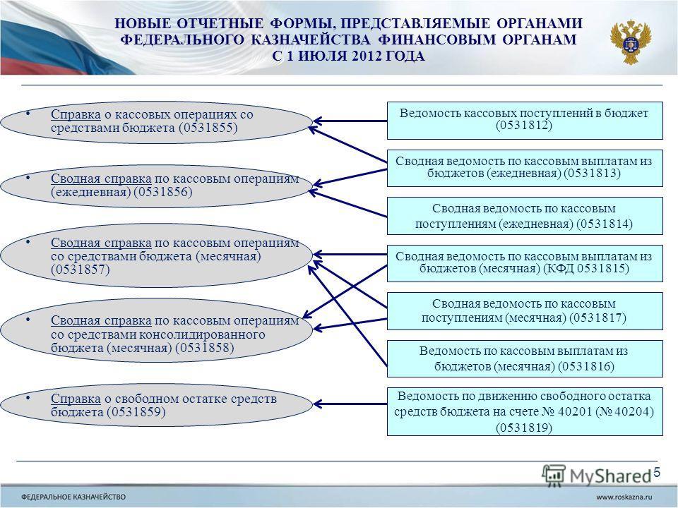 Ведомость по движению свободного остатка средств бюджета на счете 40201 ( 40204) (0531819) Ведомость по кассовым выплатам из бюджетов (месячная) (0531816) Сводная ведомость по кассовым поступлениям (месячная) (0531817) Сводная ведомость по кассовым в