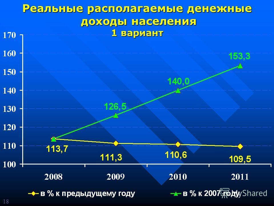 Реальные располагаемые денежные доходы населения доходы населения 1 вариант 18
