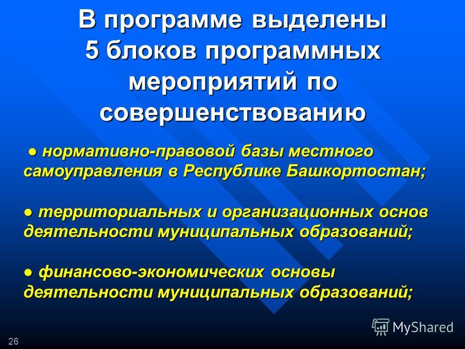 В программе выделены 5 блоков программных мероприятий по совершенствованию 26 нормативно-правовой базы местного самоуправления в Республике Башкортостан; нормативно-правовой базы местного самоуправления в Республике Башкортостан; территориальных и ор