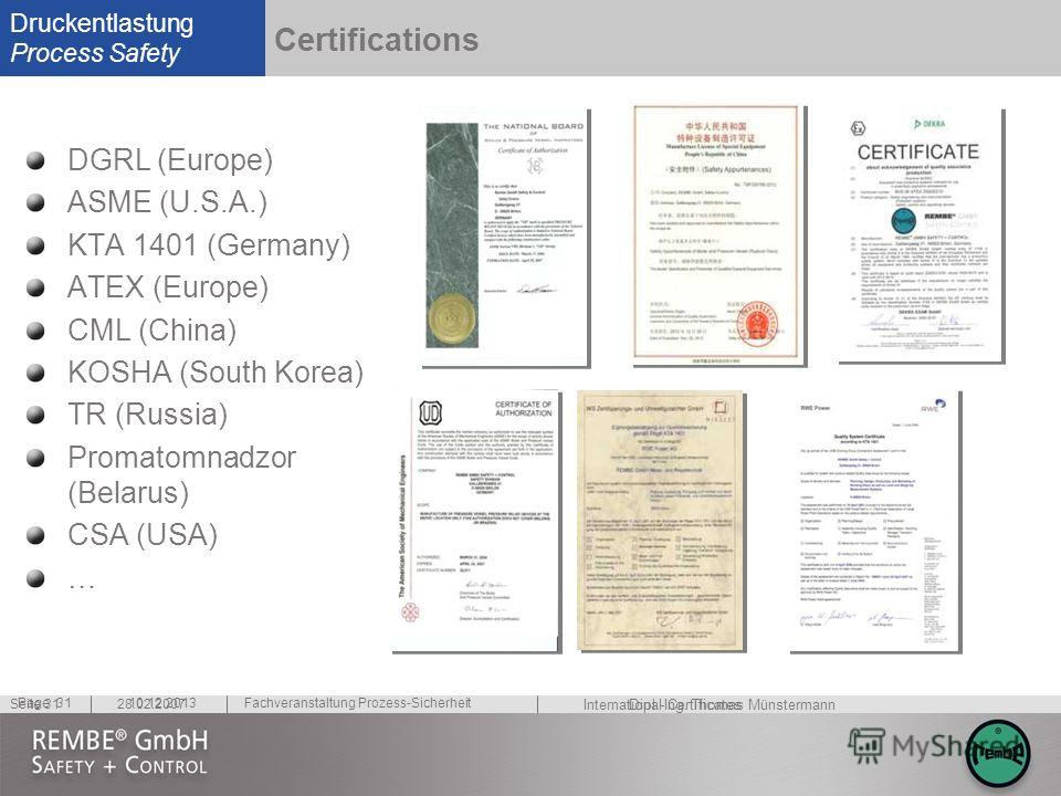 Druckentlastung Process Safety Dipl.-Ing. Thomas Münstermann 28.02.2007 Fachveranstaltung Prozess-Sicherheit Seite 31 10.12.2013Page 31 Certifications DGRL (Europe) ASME (U.S.A.) KTA 1401 (Germany) ATEX (Europe) CML (China) KOSHA (South Korea) TR (Ru