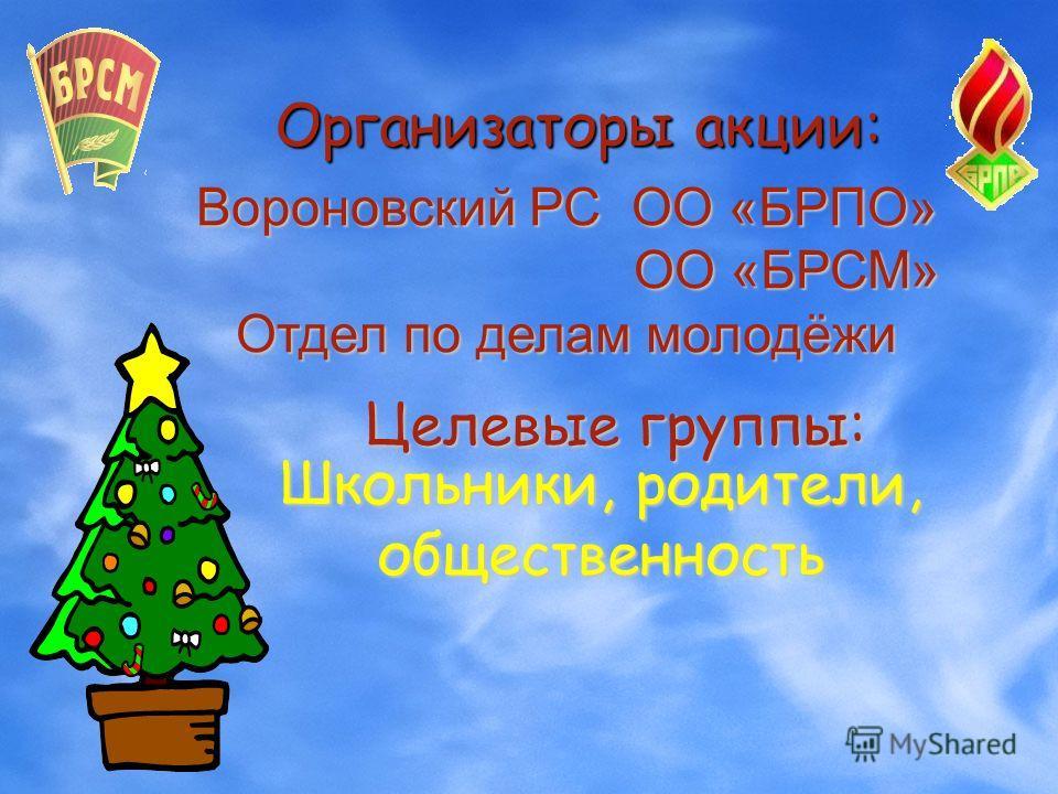 Организаторы акции: Вороновский РС ОО «БРПО» ОО «БРСМ» ОО «БРСМ» Отдел по делам молодёжи Школьники, родители, общественность Целевые группы: